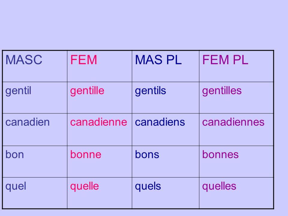 MASC FEM MAS PL FEM PL gentil gentille gentils gentilles canadien