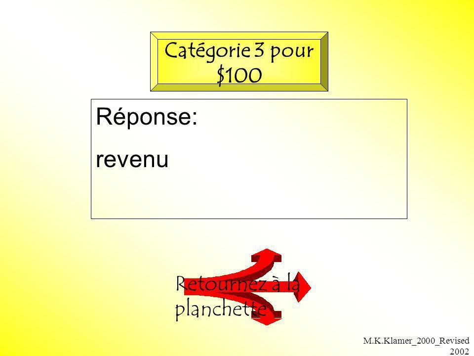 Réponse: revenu Catégorie 3 pour $100 Retournez à la planchette