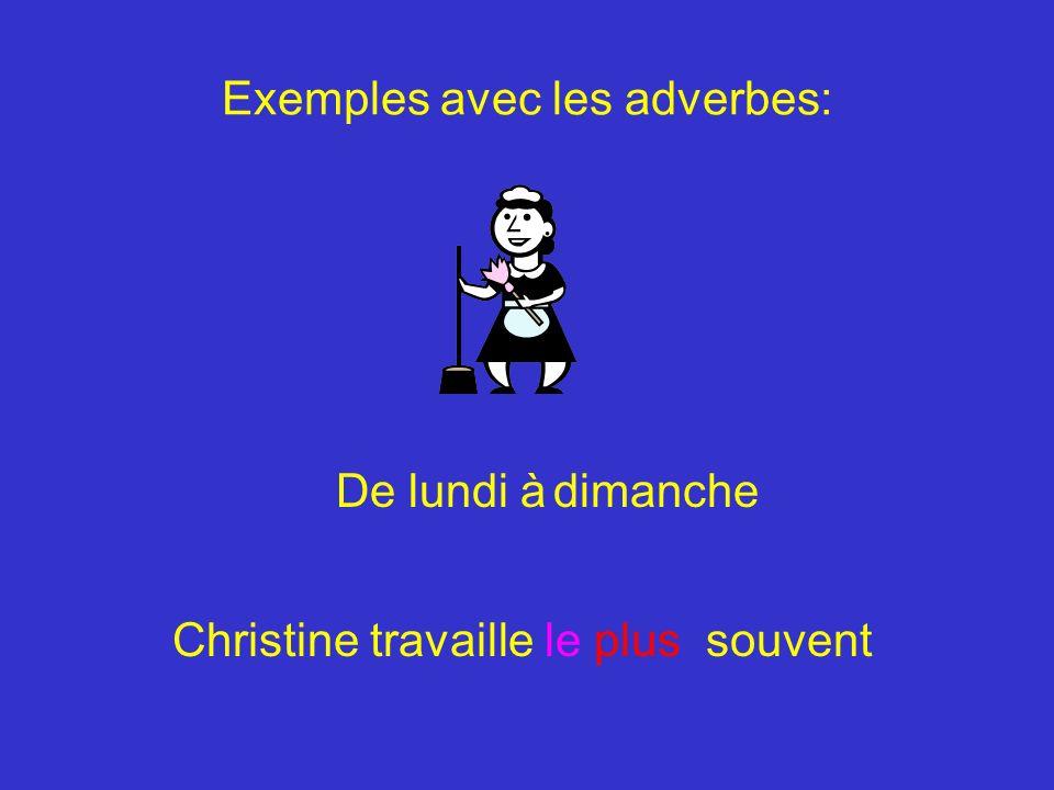 Exemples avec les adverbes: