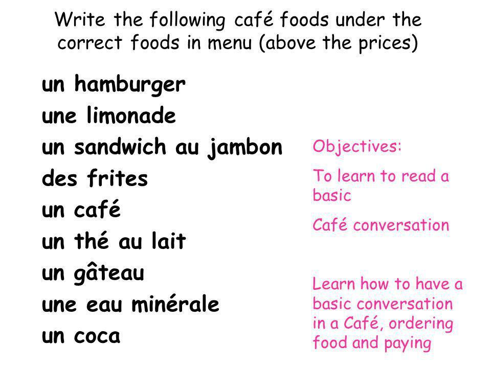 un hamburger une limonade un sandwich au jambon des frites un café