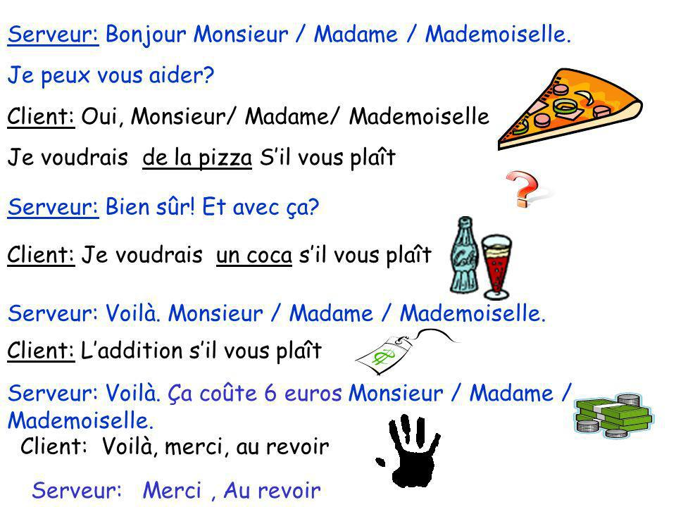 Serveur: Bonjour Monsieur / Madame / Mademoiselle.