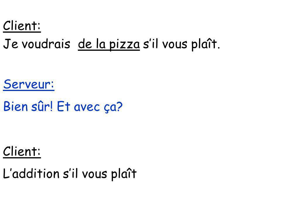 Client: Je voudrais de la pizza s'il vous plaît. Serveur: Bien sûr.