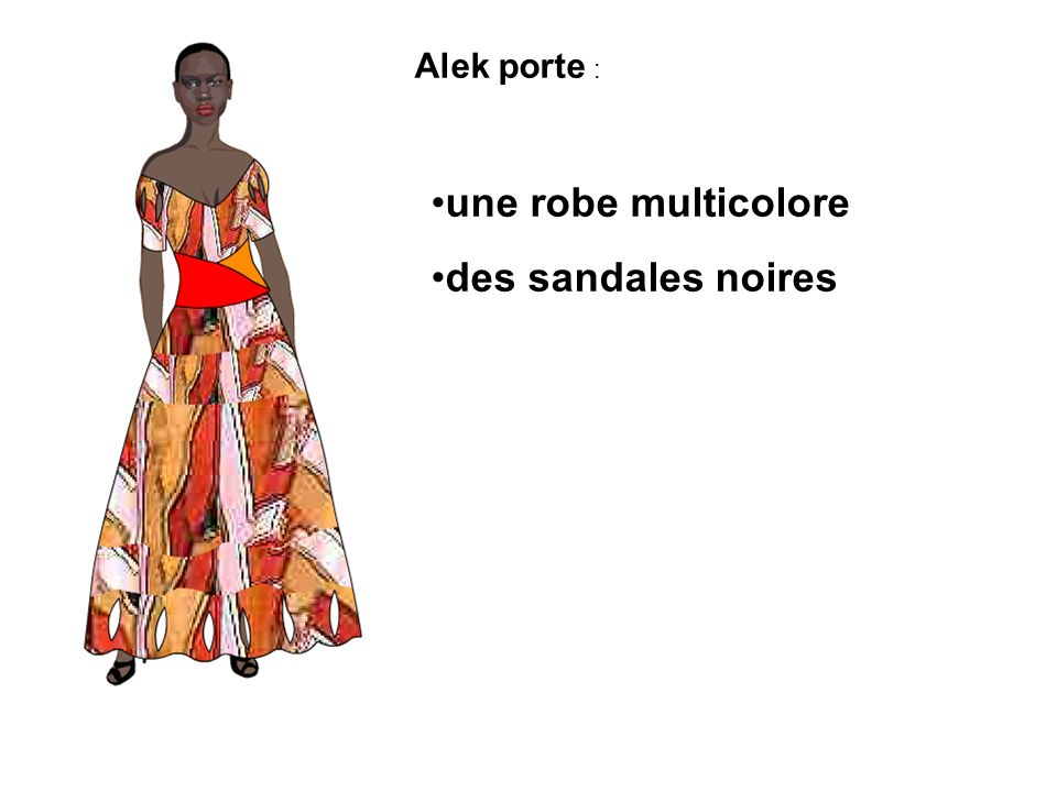Alek porte : une robe multicolore des sandales noires