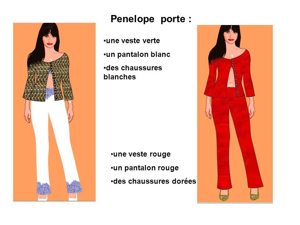 Penelope porte : une veste verte un pantalon blanc