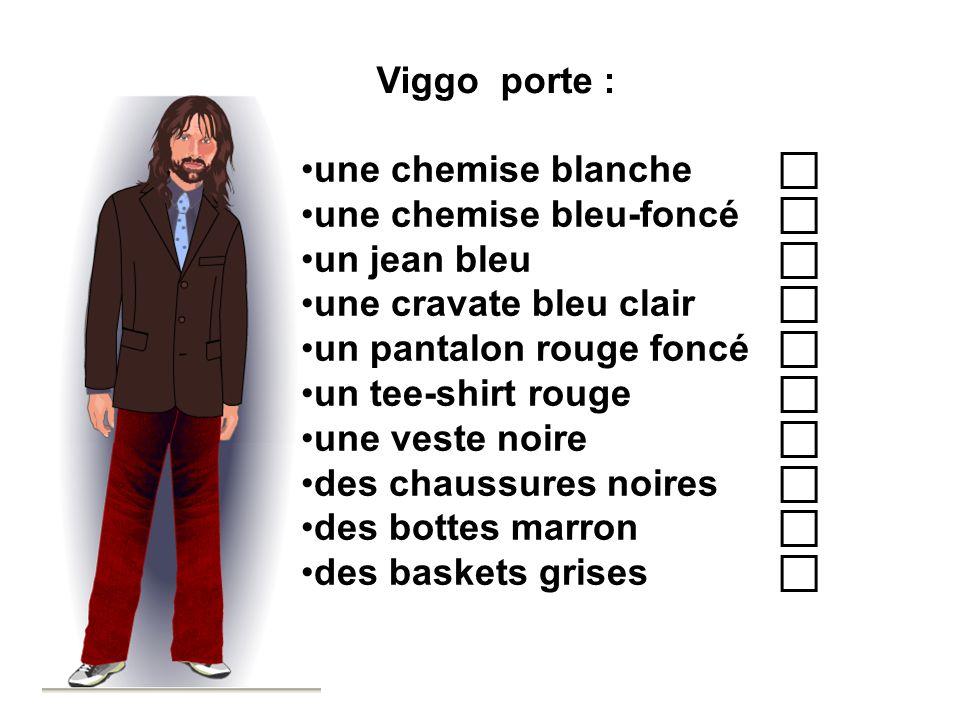 Viggo porte : une chemise blanche c. une chemise bleu-foncé c. un jean bleu c. une cravate bleu clair c.