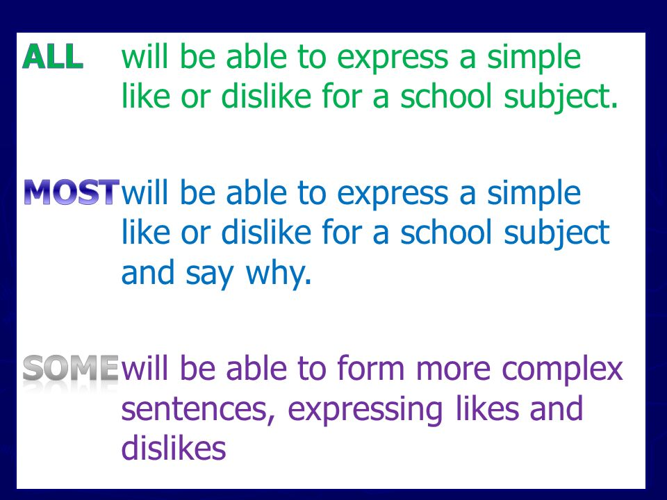 ALL will be able to express a simple like or dislike for a school subject.