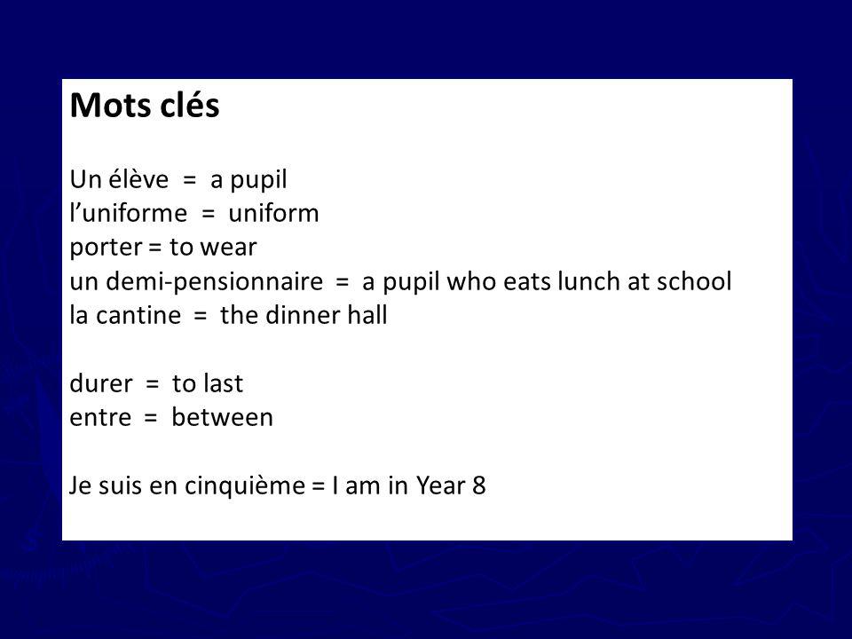 Mots clés Un élève = a pupil l'uniforme = uniform porter = to wear
