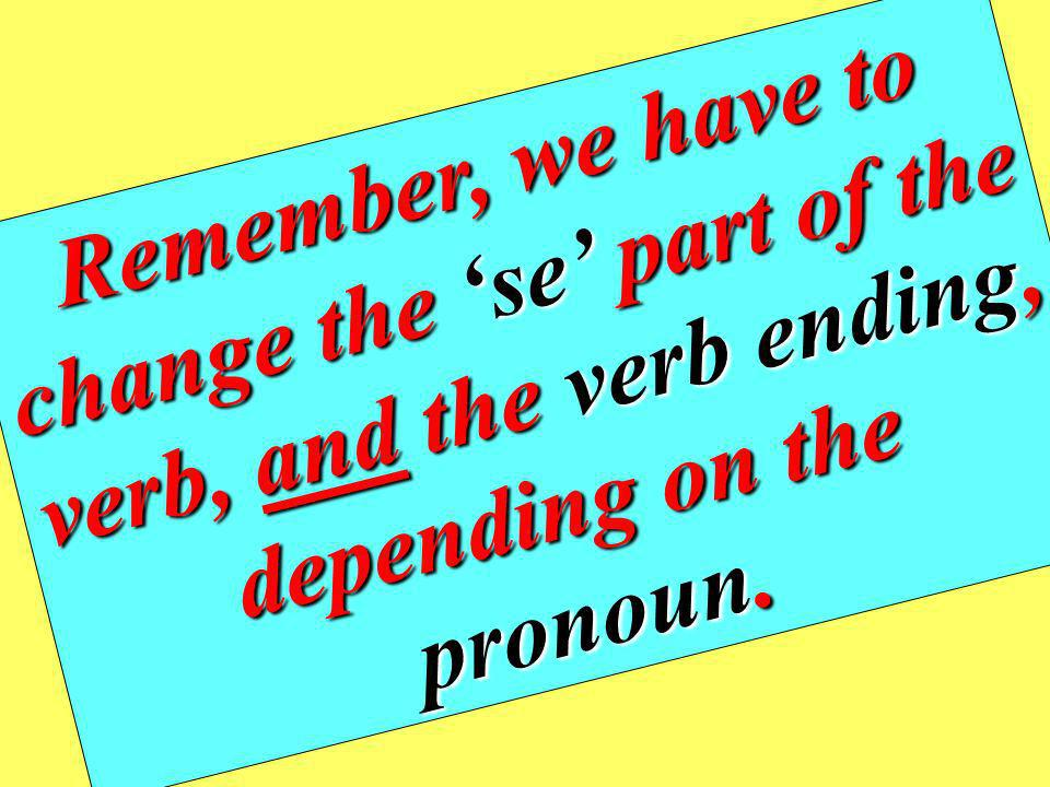 Remember, we have to change the 'se' part of the verb, and the verb ending, depending on the pronoun.
