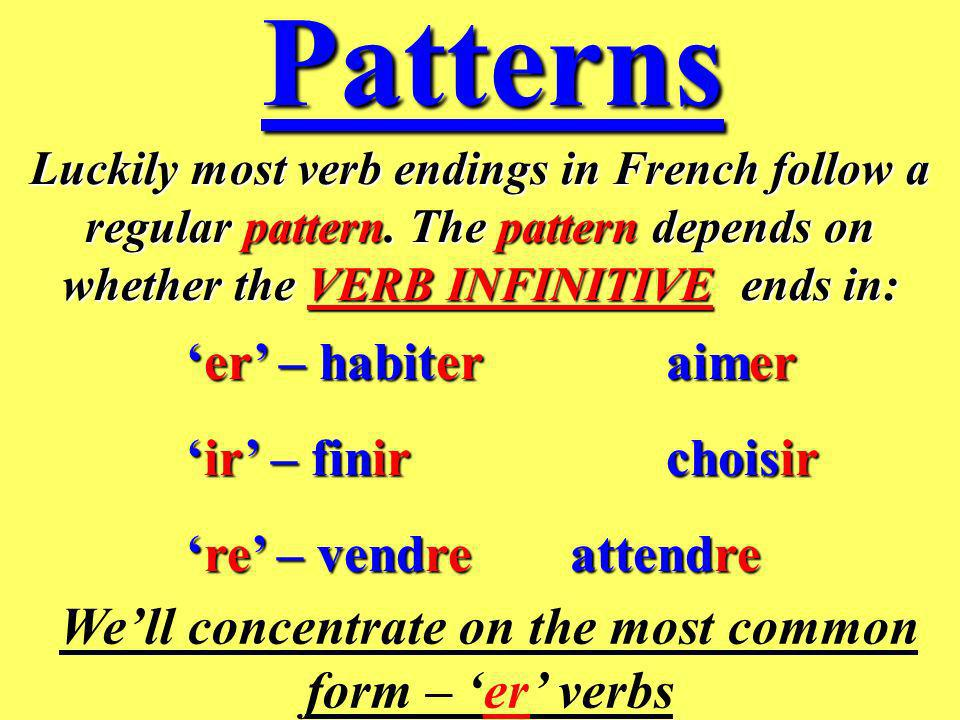 We'll concentrate on the most common form – 'er' verbs