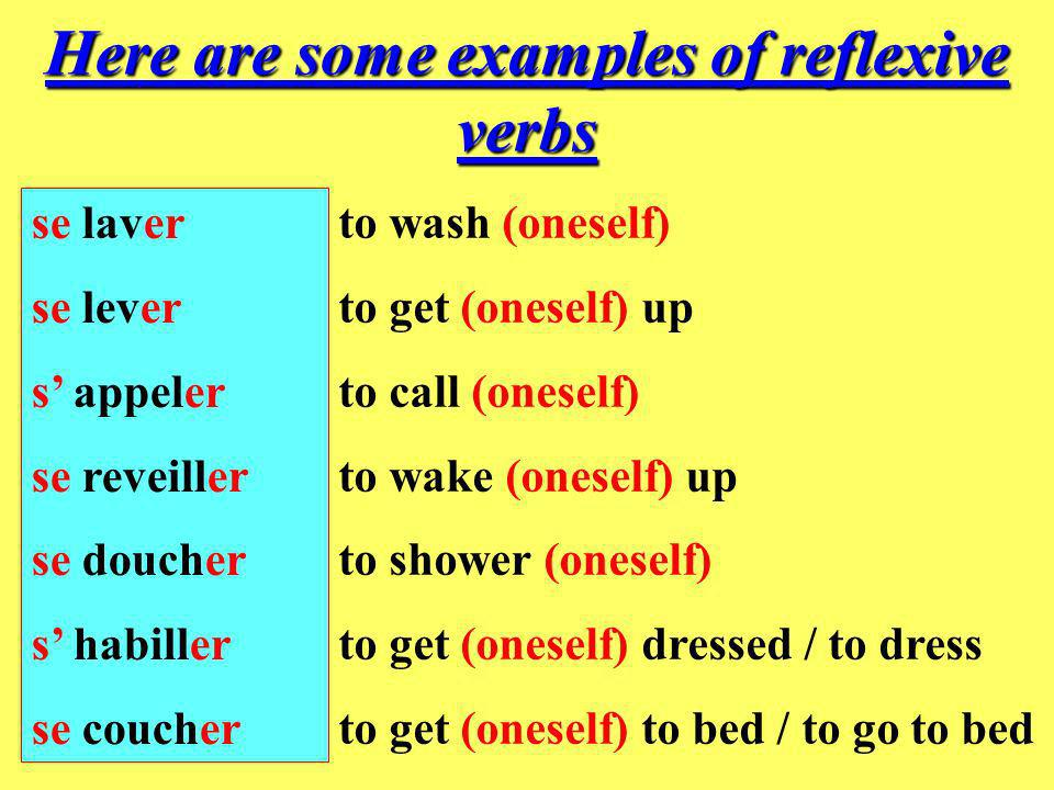 Here are some examples of reflexive verbs