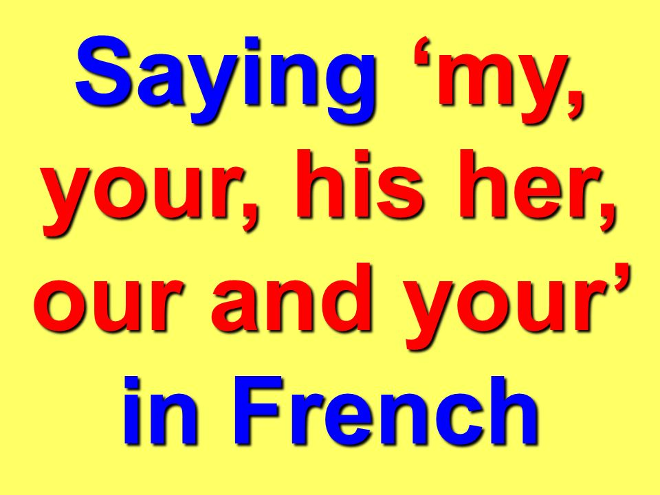 Saying 'my, your, his her, our and your' in French