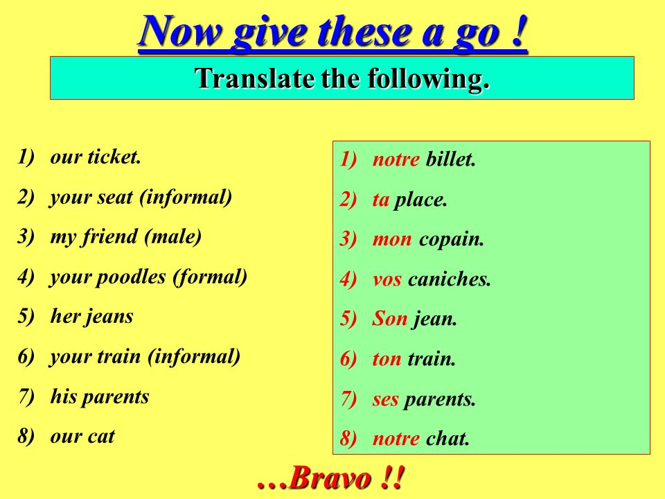 Translate the following.
