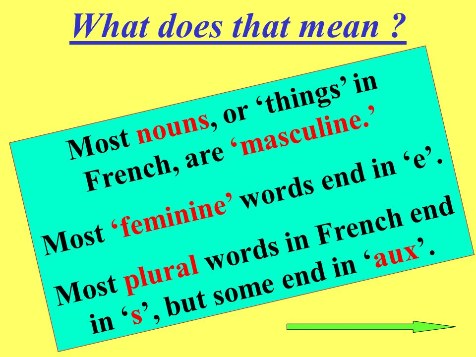 What does that mean Most nouns, or 'things' in French, are 'masculine.' Most 'feminine' words end in 'e'.