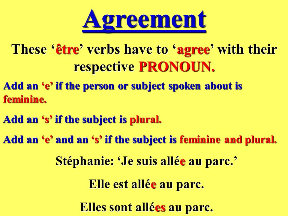 Agreement These 'être' verbs have to 'agree' with their respective PRONOUN. Add an 'e' if the person or subject spoken about is feminine.