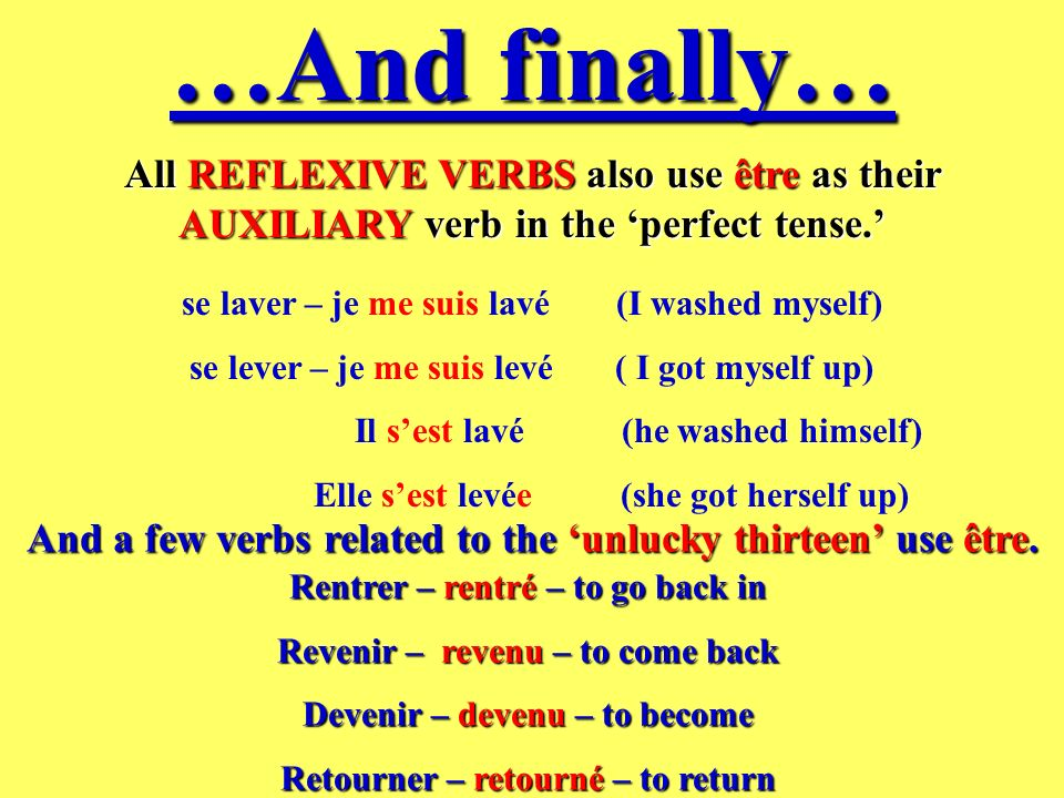 …And finally…All REFLEXIVE VERBS also use être as their AUXILIARY verb in the 'perfect tense.' se laver – je me suis lavé (I washed myself)