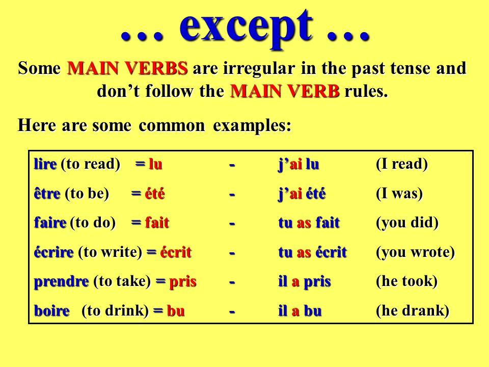 … except … Some MAIN VERBS are irregular in the past tense and don't follow the MAIN VERB rules. Here are some common examples: