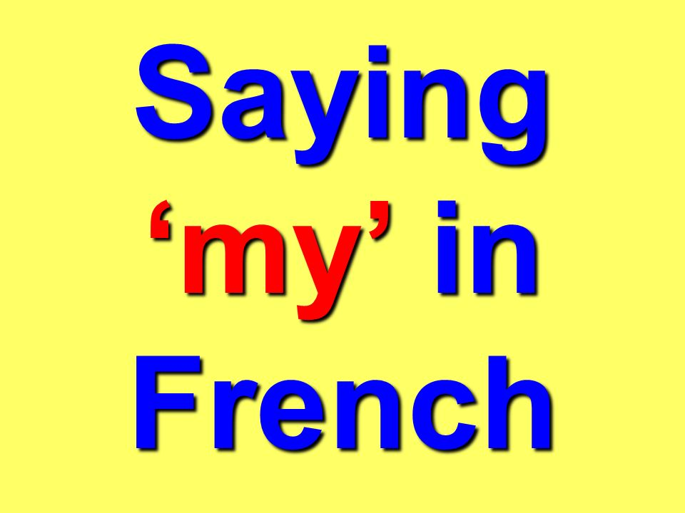 Saying 'my' in French