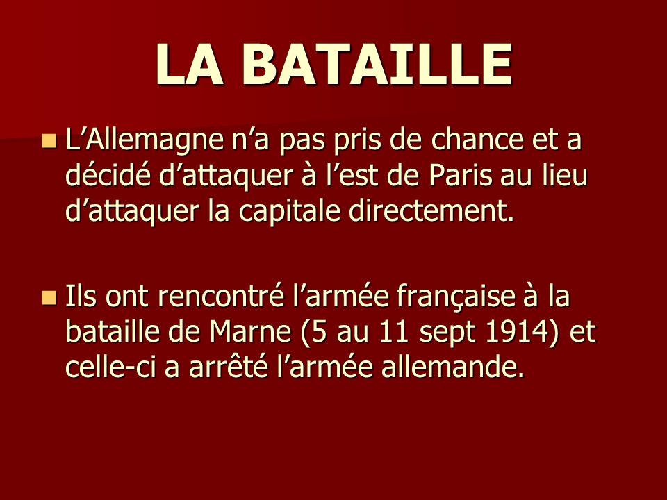 LA BATAILLE L'Allemagne n'a pas pris de chance et a décidé d'attaquer à l'est de Paris au lieu d'attaquer la capitale directement.
