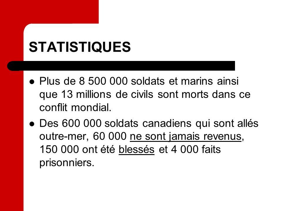 STATISTIQUES Plus de 8 500 000 soldats et marins ainsi que 13 millions de civils sont morts dans ce conflit mondial.