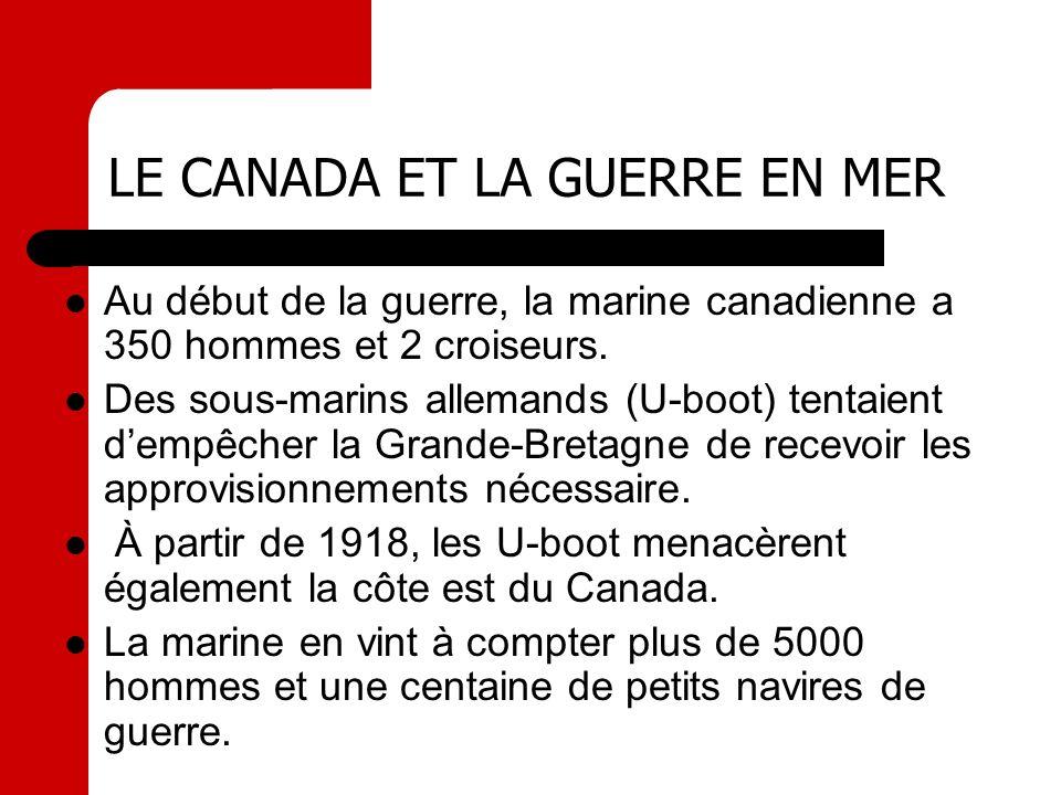 LE CANADA ET LA GUERRE EN MER