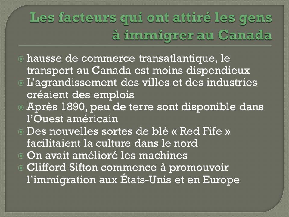 Les facteurs qui ont attiré les gens à immigrer au Canada