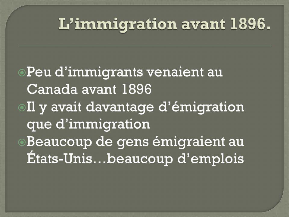 L'immigration avant 1896. Peu d'immigrants venaient au Canada avant 1896. Il y avait davantage d'émigration que d'immigration.