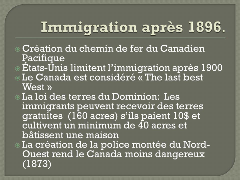 Immigration après 1896. Création du chemin de fer du Canadien Pacifique. États-Unis limitent l'immigration après 1900.