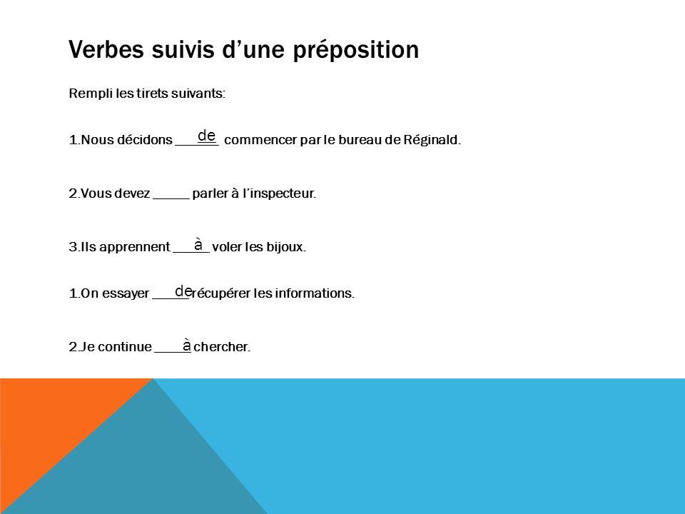 Verbes suivis d'une préposition
