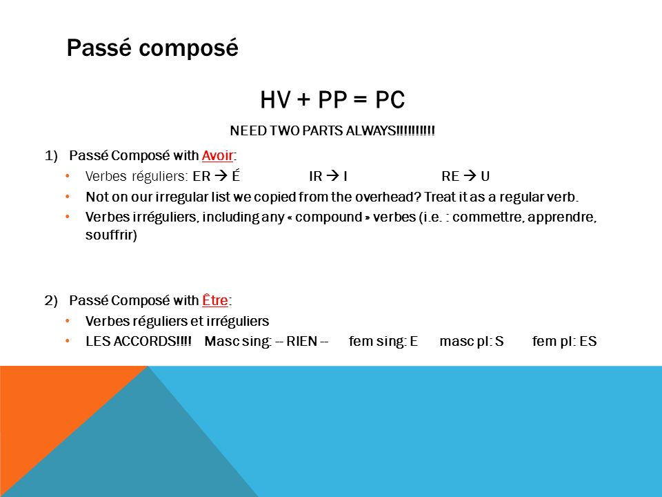 Passé composé HV + PP = PC NEED TWO PARTS ALWAYS!!!!!!!!!!