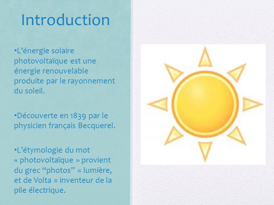 Introduction L'énergie solaire photovoltaïque est une énergie renouvelable produite par le rayonnement du soleil.