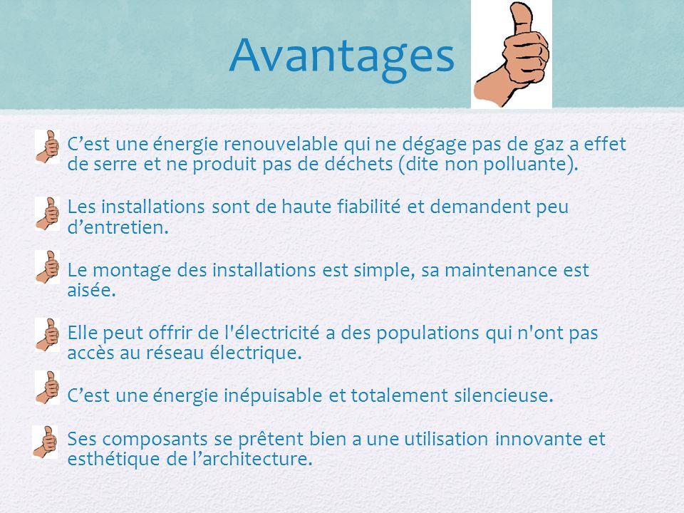 Avantages C'est une énergie renouvelable qui ne dégage pas de gaz a effet de serre et ne produit pas de déchets (dite non polluante).