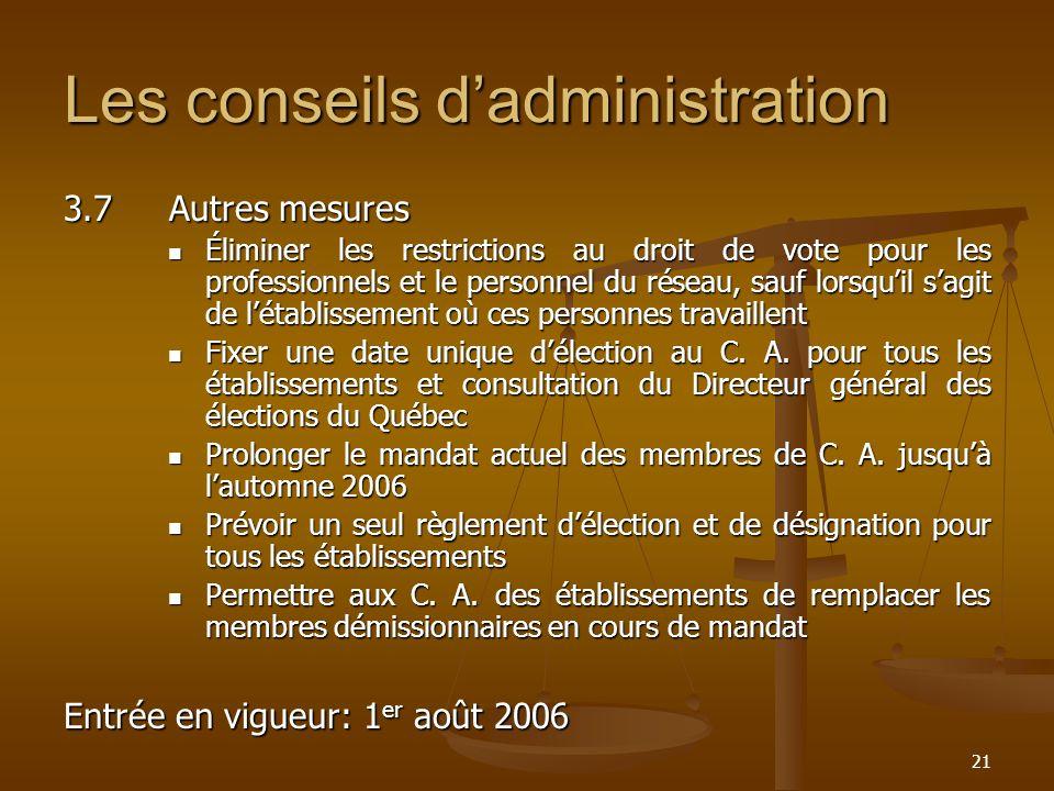 Les conseils d'administration