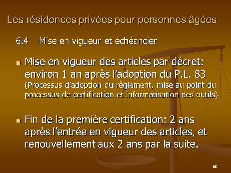 Les résidences privées pour personnes âgées