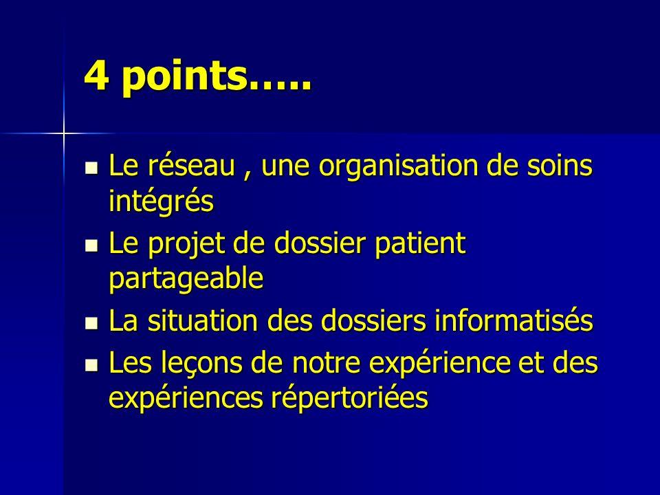 4 points….. Le réseau , une organisation de soins intégrés