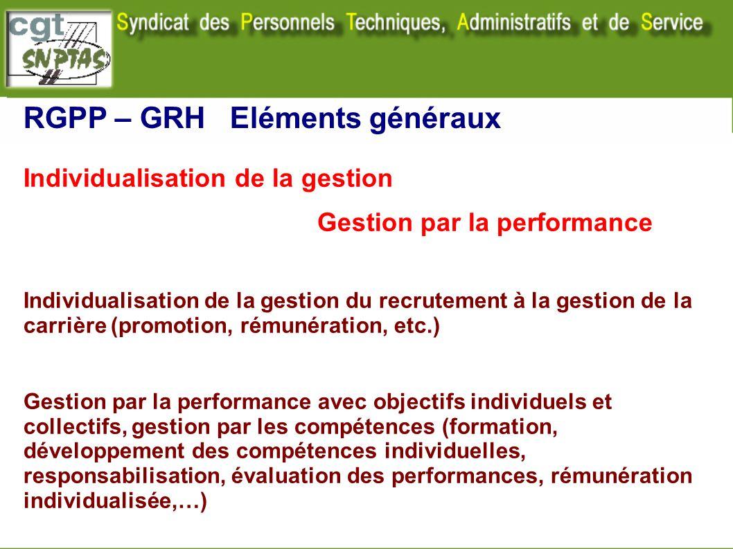 RGPP – GRH Eléments généraux