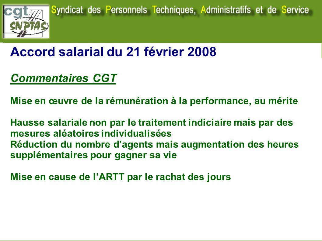Accord salarial du 21 février 2008