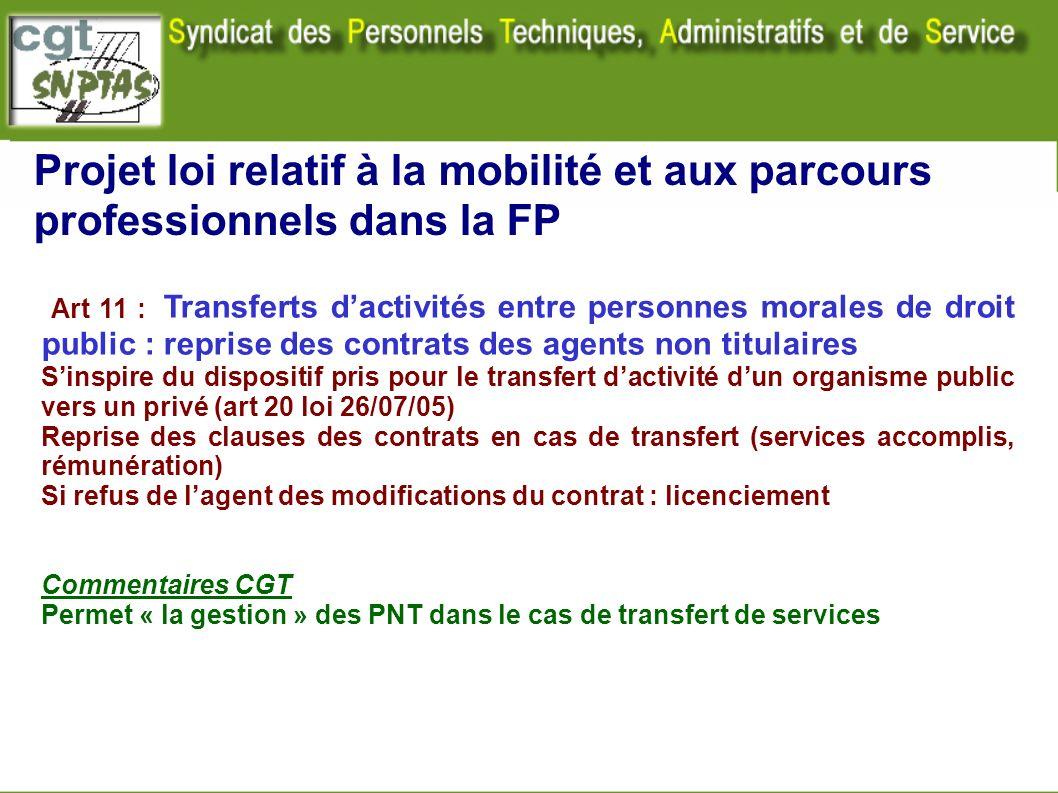 Projet loi relatif à la mobilité et aux parcours professionnels dans la FP