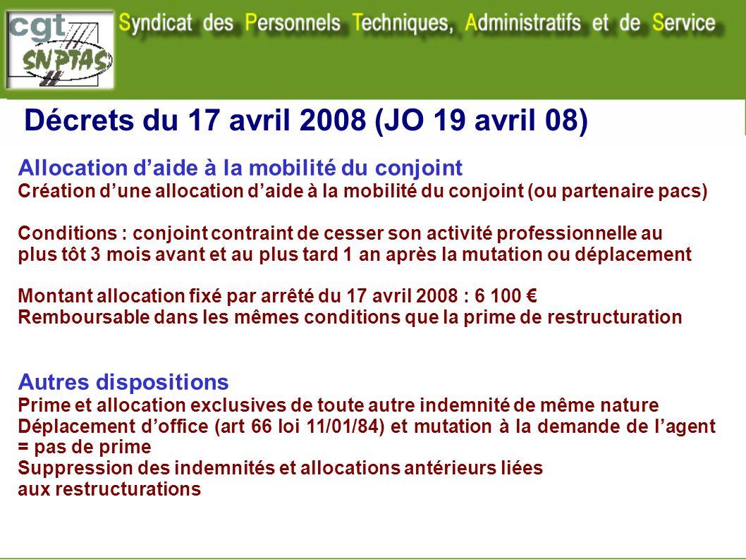 Décrets du 17 avril 2008 (JO 19 avril 08)