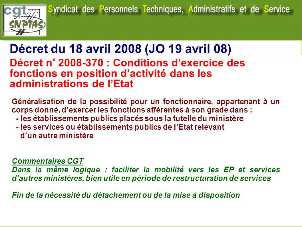 Décret du 18 avril 2008 (JO 19 avril 08)