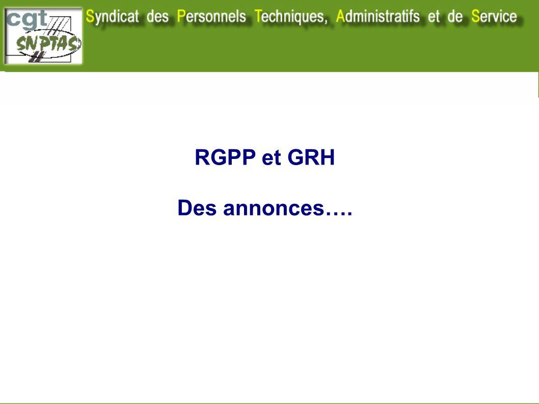 RGPP et GRH Des annonces….