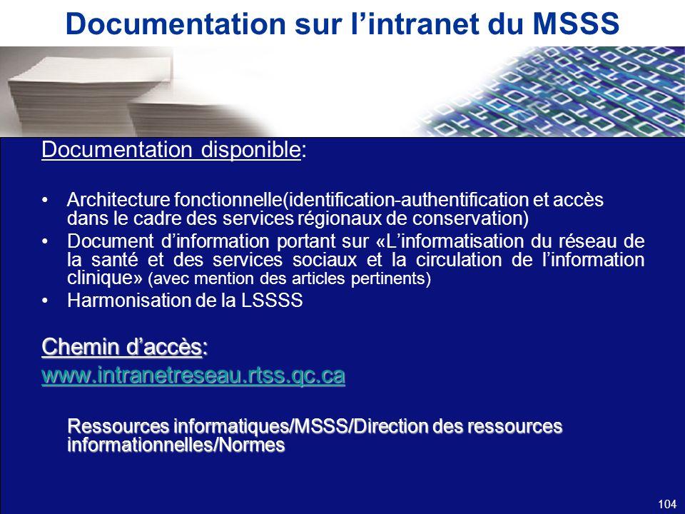Documentation sur l'intranet du MSSS