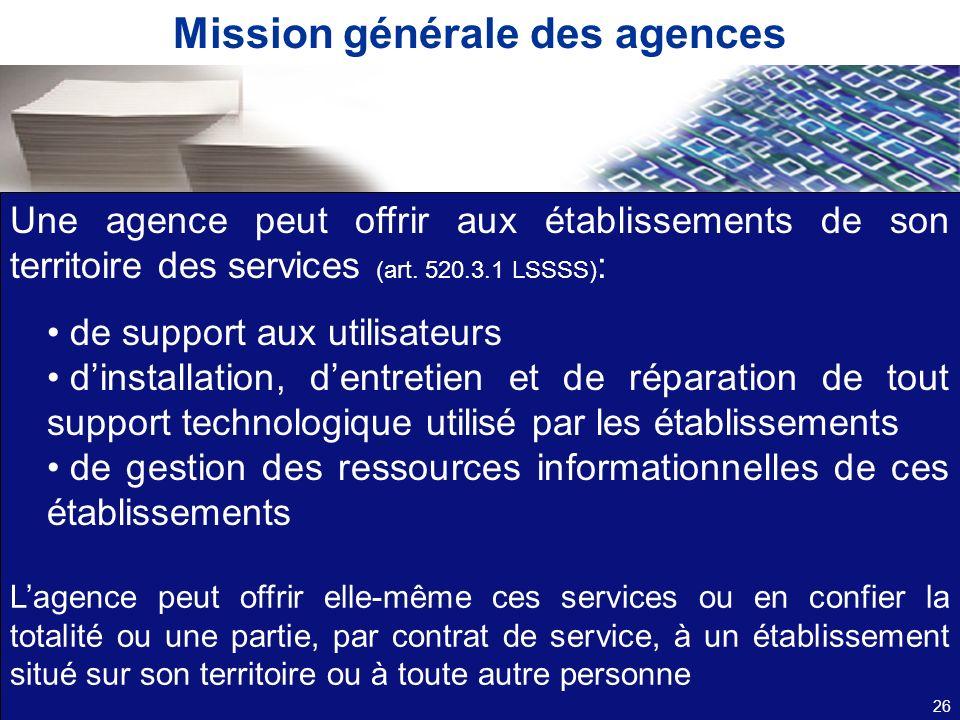 Mission générale des agences
