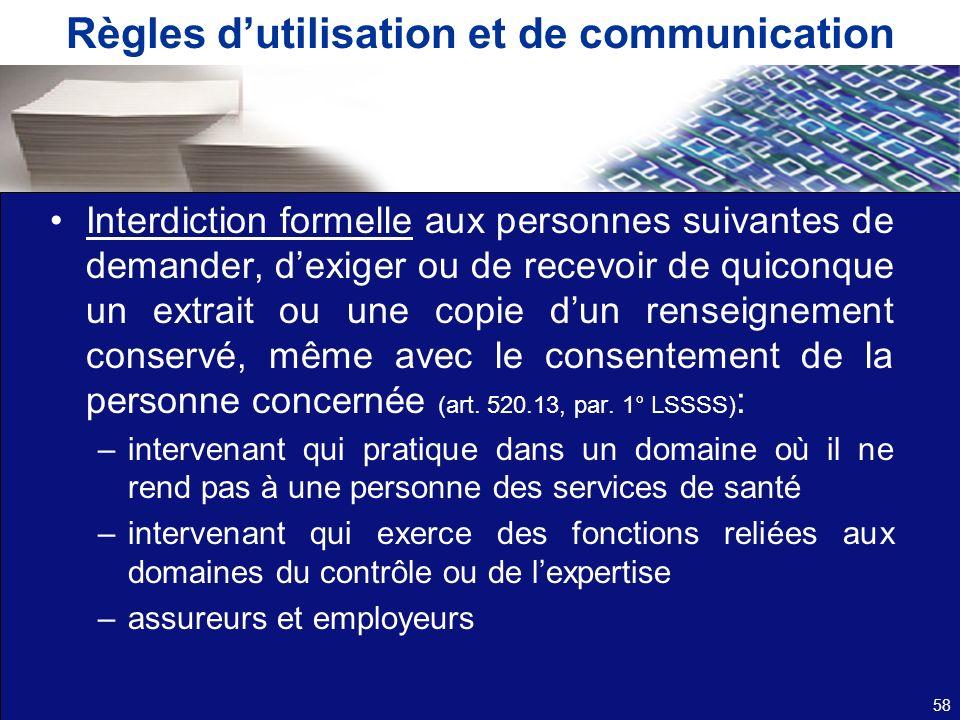 Règles d'utilisation et de communication