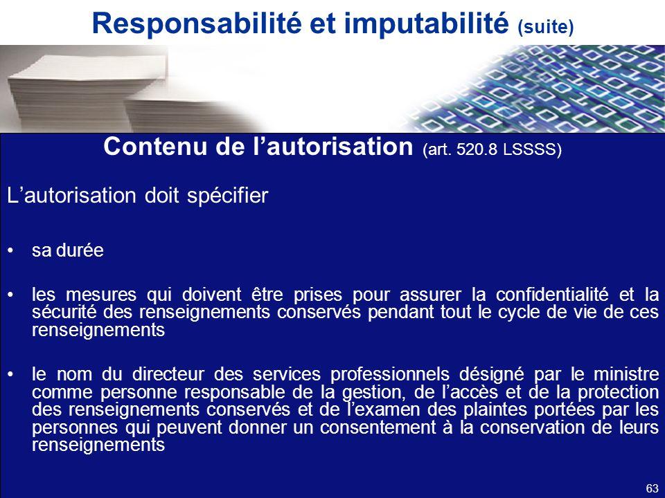 Responsabilité et imputabilité (suite)