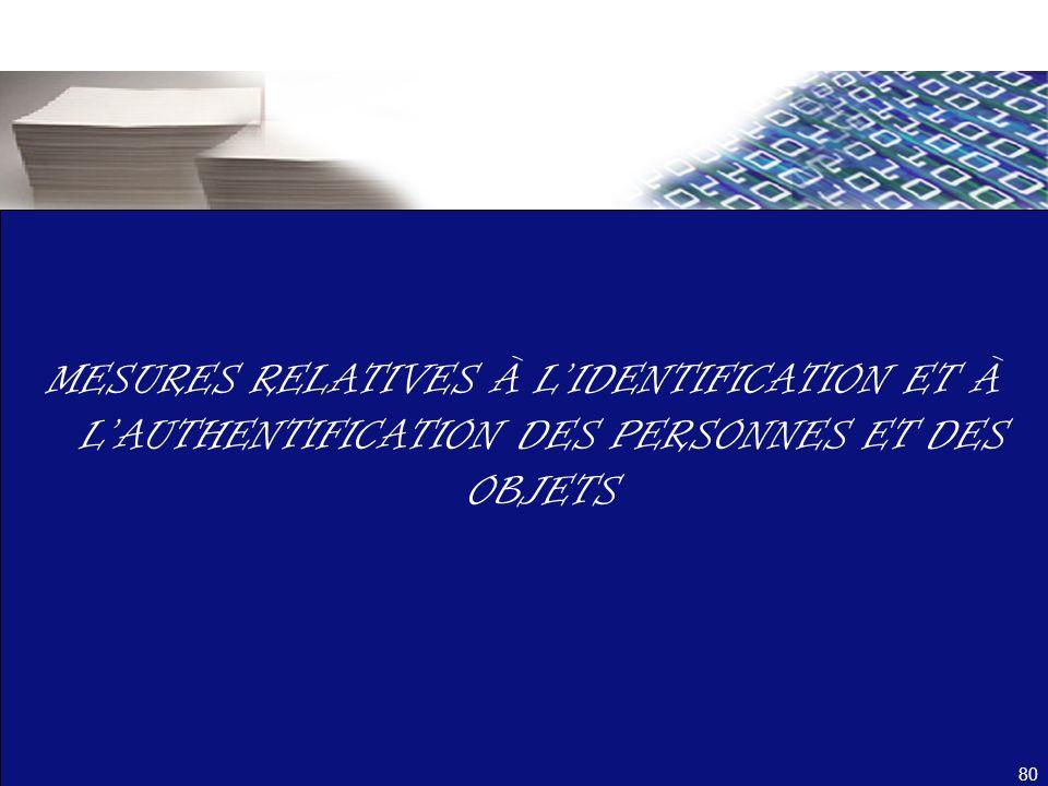 MESURES RELATIVES À L'IDENTIFICATION ET À L'AUTHENTIFICATION DES PERSONNES ET DES OBJETS