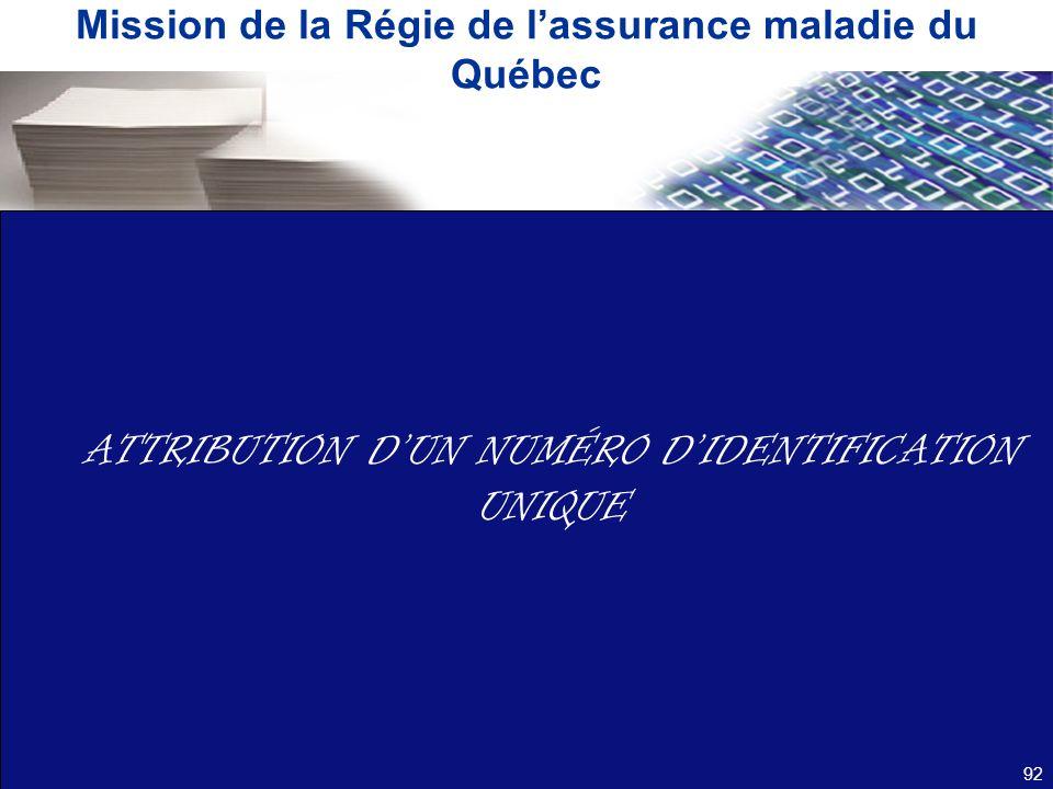Mission de la Régie de l'assurance maladie du Québec