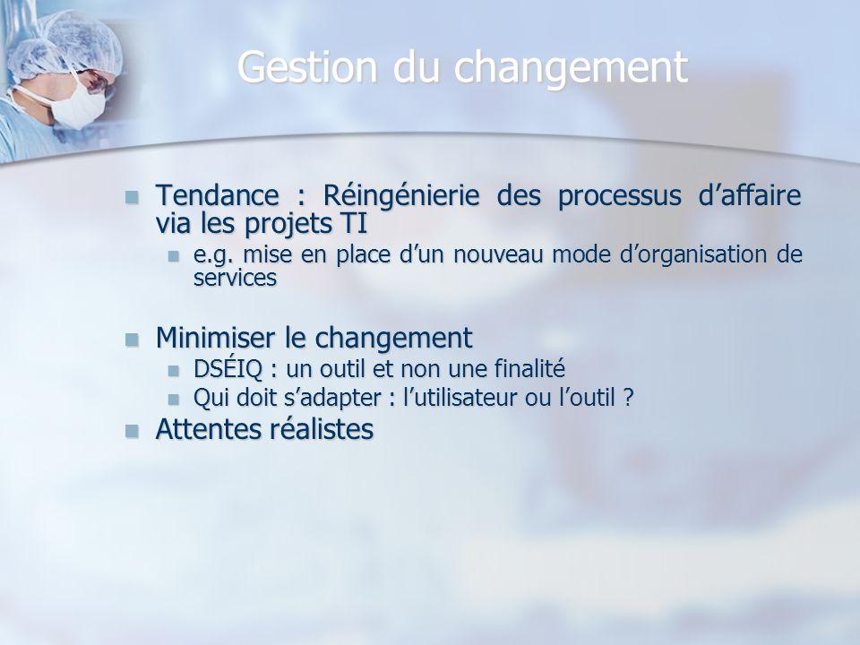 Gestion du changement Tendance : Réingénierie des processus d'affaire via les projets TI.