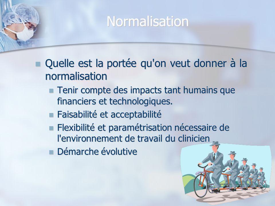 Normalisation Quelle est la portée qu on veut donner à la normalisation. Tenir compte des impacts tant humains que financiers et technologiques.