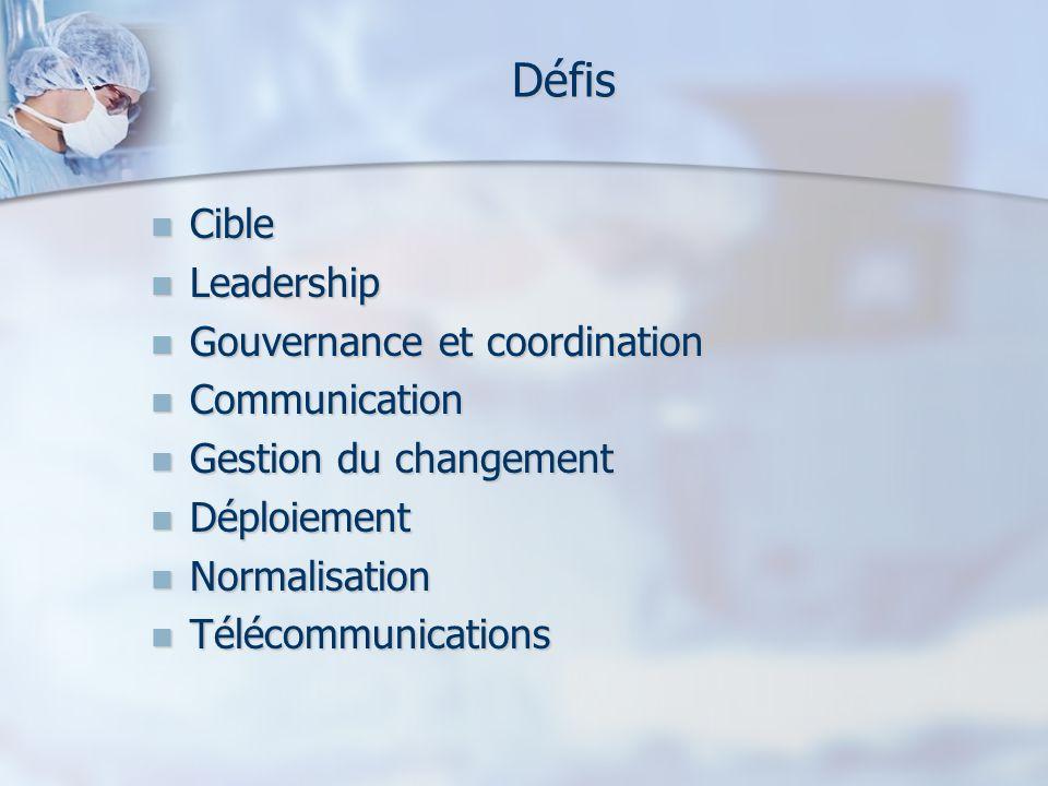Défis Cible Leadership Gouvernance et coordination Communication