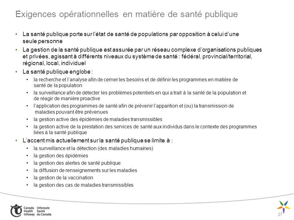 Exigences opérationnelles en matière de santé publique